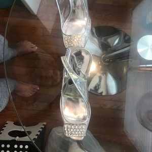 Guess clear crystal and silver heels